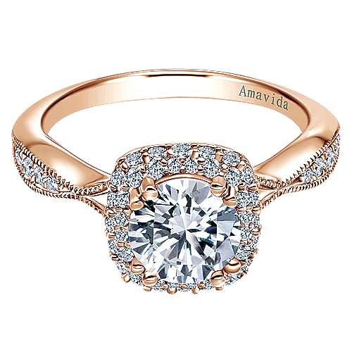 Gabriel - Jorja 18k Rose Gold Round Halo Engagement Ring