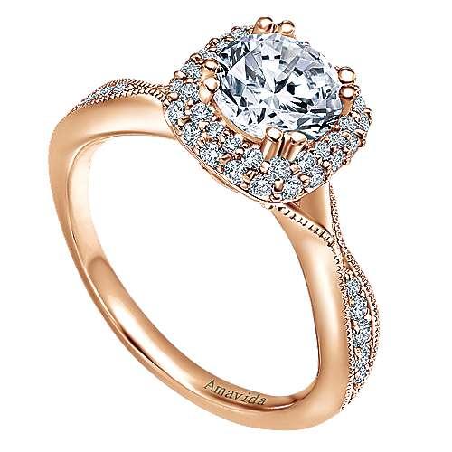 Jorja 18k Rose Gold Round Halo Engagement Ring