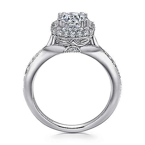 Jorja 18k White Gold Round Double Halo Engagement Ring angle 2