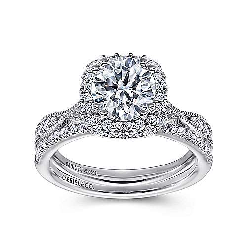 Jorja 18k White Gold Round Double Halo Engagement Ring angle 4