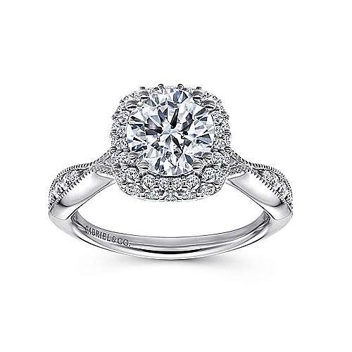 Jorja 18k White Gold Round Double Halo Engagement Ring angle 5