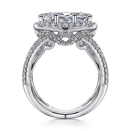 Josefina 18k White Gold Marquise  Halo Engagement Ring angle 2