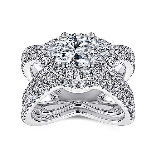 Josefina 18k White Gold Marquise  Halo Engagement Ring angle 4
