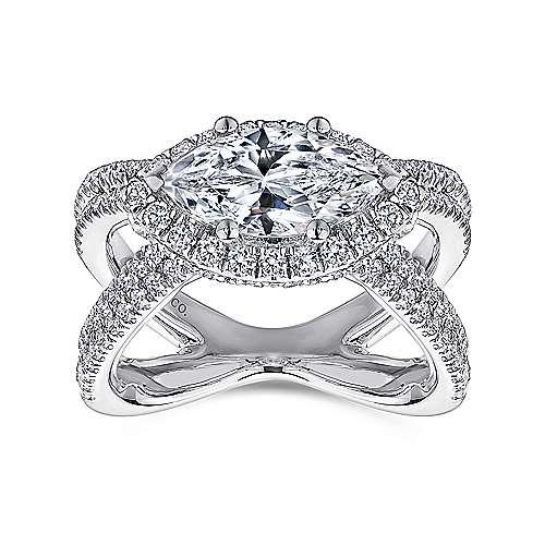 Josefina 18k White Gold Marquise  Halo Engagement Ring angle 5