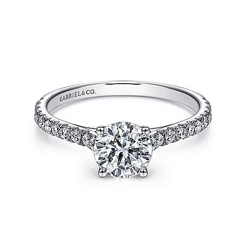 Josephine 18k White Gold Round Straight Engagement Ring angle 1