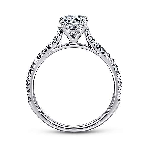 Josephine 18k White Gold Round Straight Engagement Ring angle 2