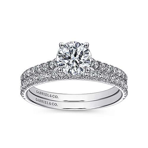 Josephine 18k White Gold Round Straight Engagement Ring angle 4