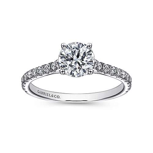 Josephine 18k White Gold Round Straight Engagement Ring angle 5