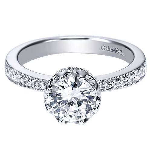 Gabriel - Josie 14k White Gold Round Straight Engagement Ring