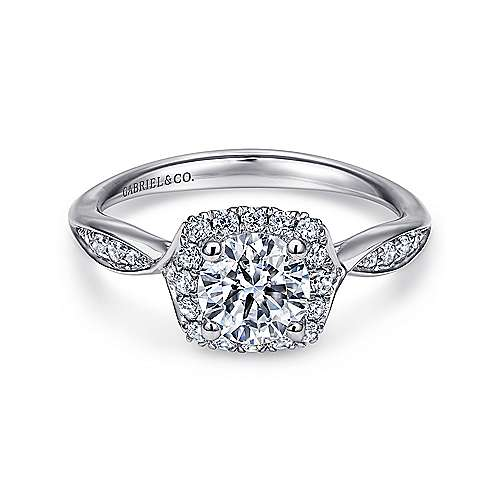 Gabriel - Jude 14k White Gold Round Halo Engagement Ring