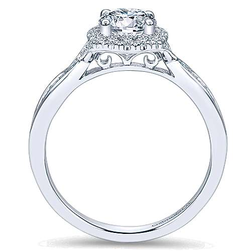 Jude 14k White Gold Round Halo Engagement Ring