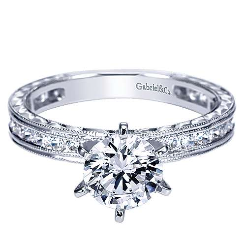 Gabriel - Judy 14k White Gold Round Straight Engagement Ring