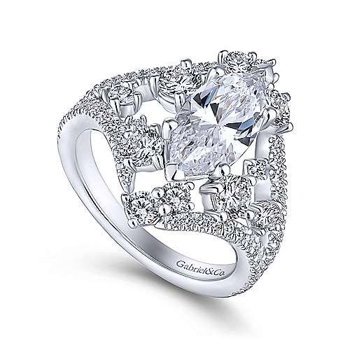 Jules 18k White Gold Marquise  Split Shank Engagement Ring angle 3