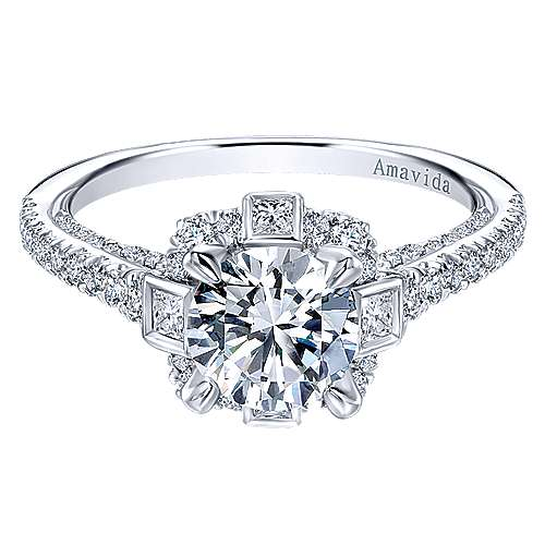 Gabriel - Julia 18k White Gold Round Halo Engagement Ring