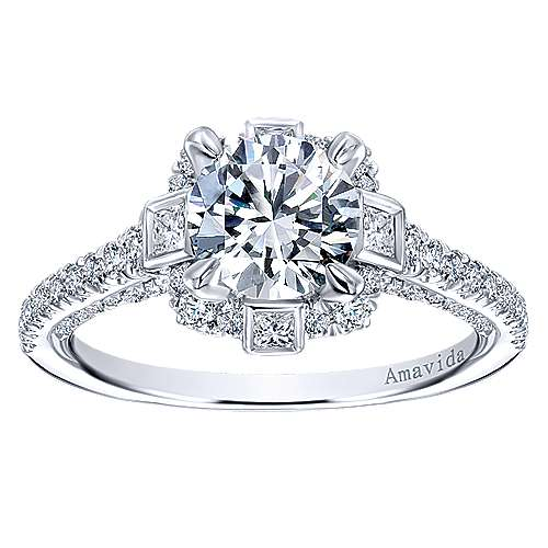 Julia 18k White Gold Round Halo Engagement Ring ER12120R4W83JJ