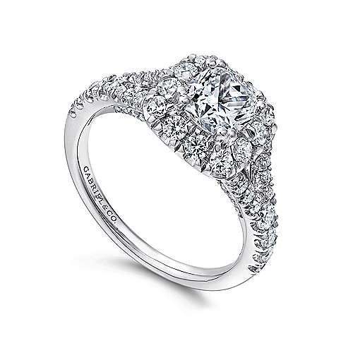 Juliana 14k White And Rose Gold Cushion Cut Halo Engagement Ring angle 3