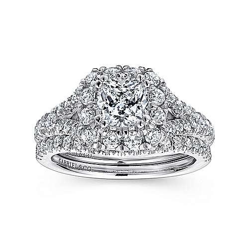 Juliana 14k White And Rose Gold Cushion Cut Halo Engagement Ring angle 4