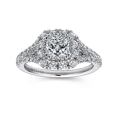 Juliana 14k White And Rose Gold Cushion Cut Halo Engagement Ring angle 5