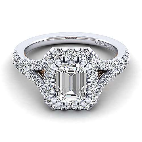 Gabriel - Juliana 14k White And Rose Gold Emerald Cut Halo Engagement Ring