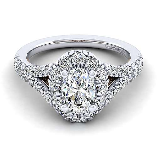 Gabriel - Juliana 14k White And Rose Gold Oval Halo Engagement Ring