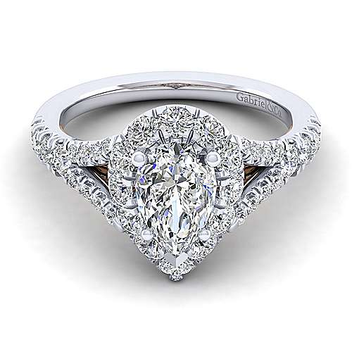 Gabriel - Juliana 14k White And Rose Gold Pear Shape Halo Engagement Ring