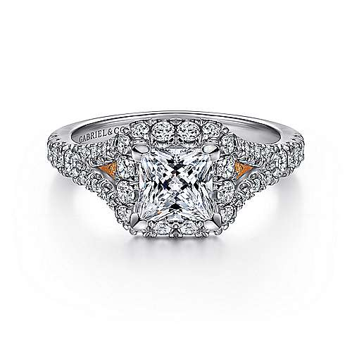 Gabriel - Juliana 14k White And Rose Gold Princess Cut Halo Engagement Ring