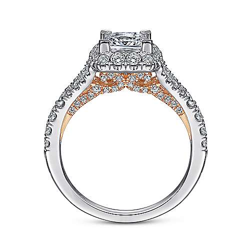Juliana 14k White And Rose Gold Princess Cut Halo Engagement Ring angle 2