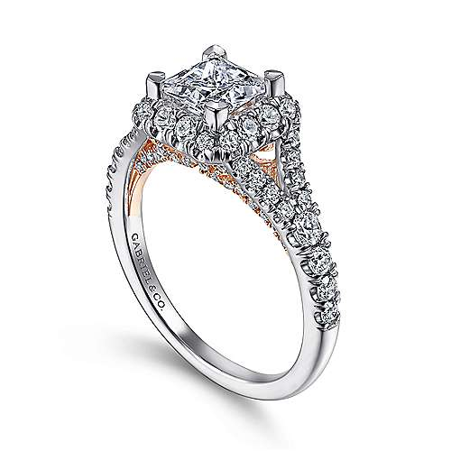 Juliana 14k White And Rose Gold Princess Cut Halo Engagement Ring