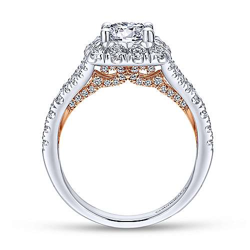 Juliana 14k White And Rose Gold Round Halo Engagement Ring angle 2