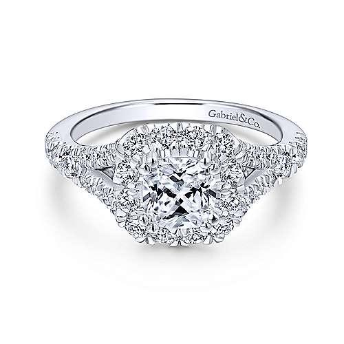 Gabriel - Juliana 14k White Gold Cushion Cut Halo Engagement Ring