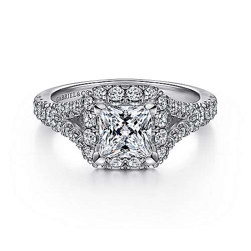 Gabriel - Juliana 14k White Gold Princess Cut Halo Engagement Ring