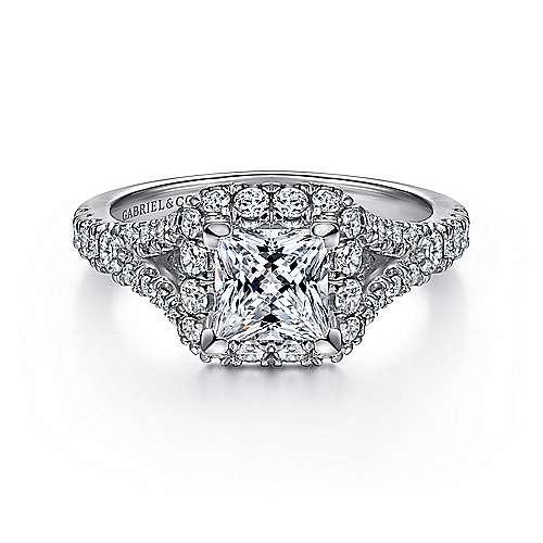 Gabriel - Juliana 14k White Gold Princess Cut Halo Engagement Ring