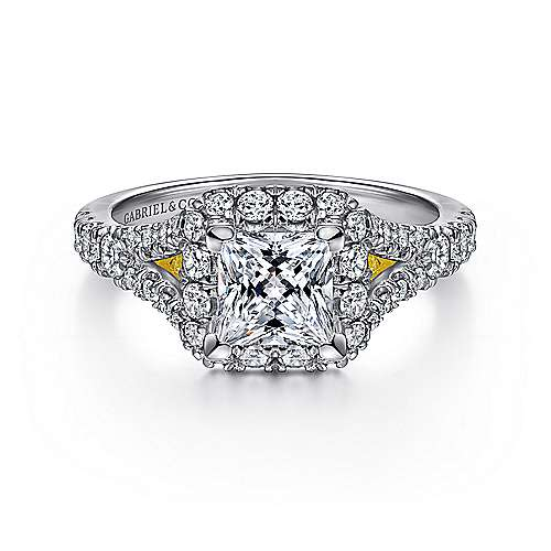 Gabriel - Juliana 14k Yellow And White Gold Princess Cut Halo Engagement Ring
