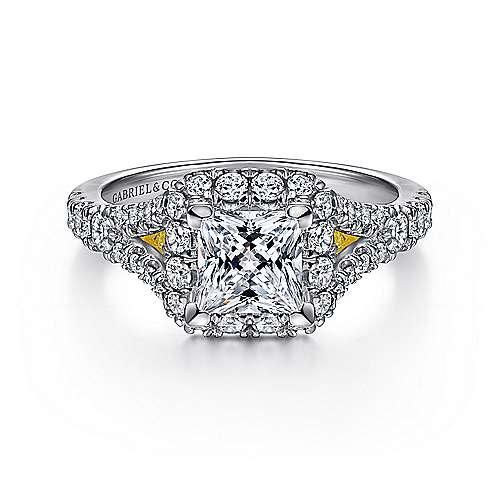 Gabriel - Juliana 14k Yellow And White Gold Princess Cut Halo Engagement Ring