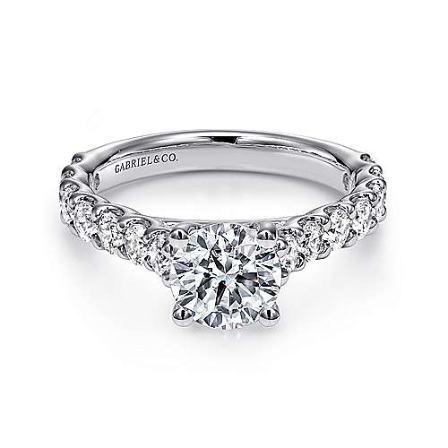 Gabriel - Julie 18k White Gold Round Straight Engagement Ring