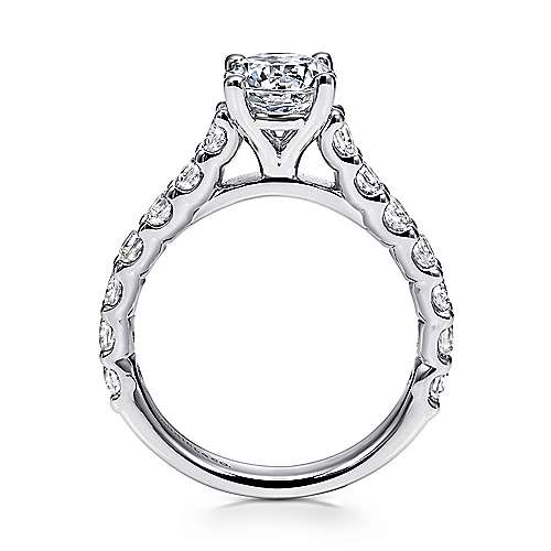 Julie 18k White Gold Round Straight Engagement Ring angle 2