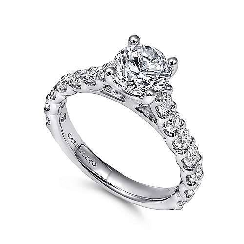 Julie 18k White Gold Round Straight Engagement Ring angle 3