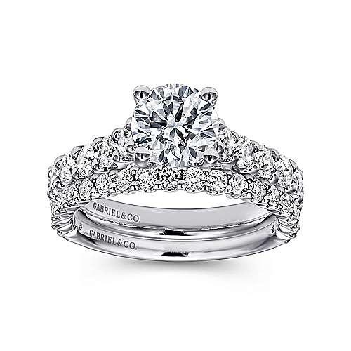 Julie 18k White Gold Round Straight Engagement Ring