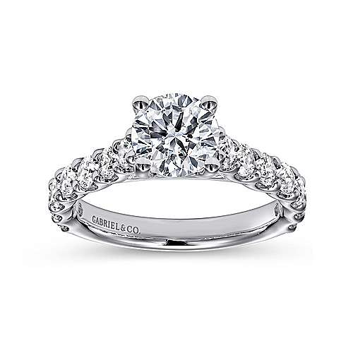 Julie 18k White Gold Round Straight Engagement Ring angle 5