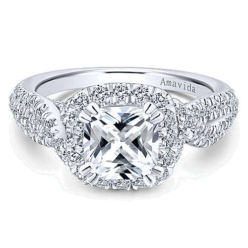 Gabriel - Julietta 18k White Gold Cushion Cut Halo Engagement Ring