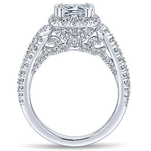 Julietta 18k White Gold Cushion Cut Halo Engagement Ring angle 2