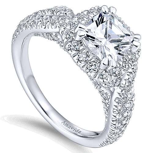 Julietta 18k White Gold Cushion Cut Halo Engagement Ring angle 3