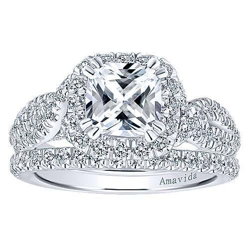 Julietta 18k White Gold Cushion Cut Halo Engagement Ring angle 4