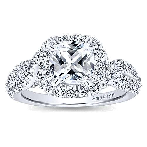 Julietta 18k White Gold Cushion Cut Halo Engagement Ring angle 5