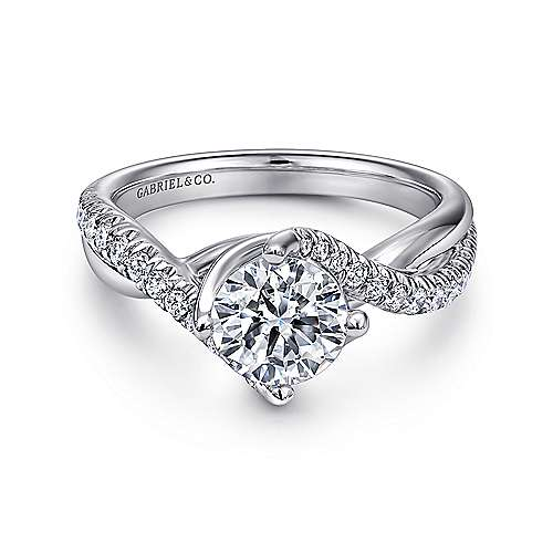 Gabriel - Julissa 14k White Gold Round Bypass Engagement Ring