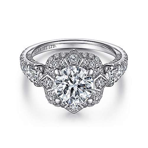 Julius 18k White Gold Round Halo Engagement Ring angle 1