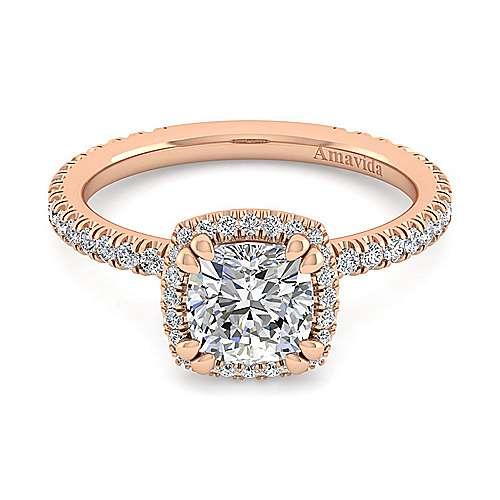 Gabriel - June 18k Pink Gold Cushion Cut Halo Engagement Ring