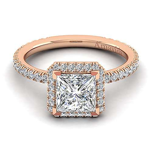 18k Rose Gold Princess Cut Halo