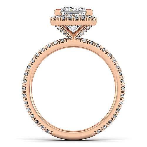 June 18k Rose Gold Princess Cut Halo Engagement Ring angle 2
