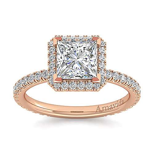 June 18k Rose Gold Princess Cut Halo Engagement Ring angle 5